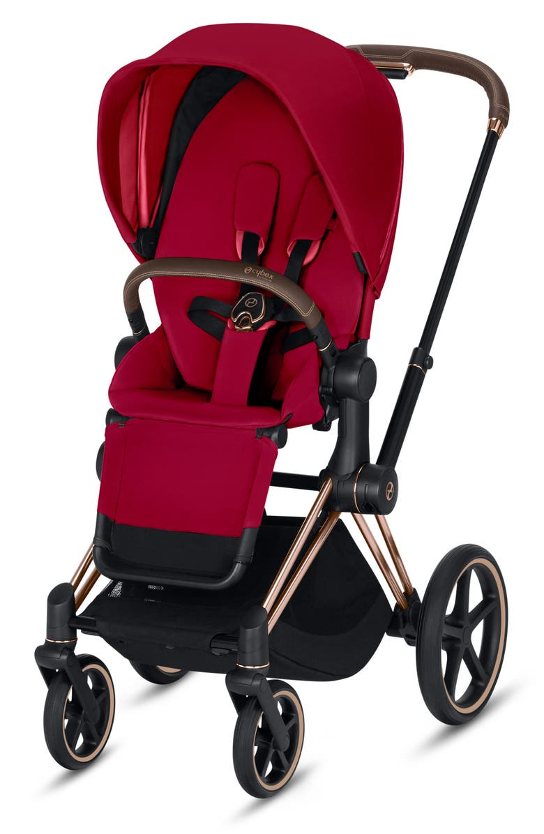 CYBEX Priam Rose Gold Stroller with All Terrain Wheels, Main, color, TRUE RED