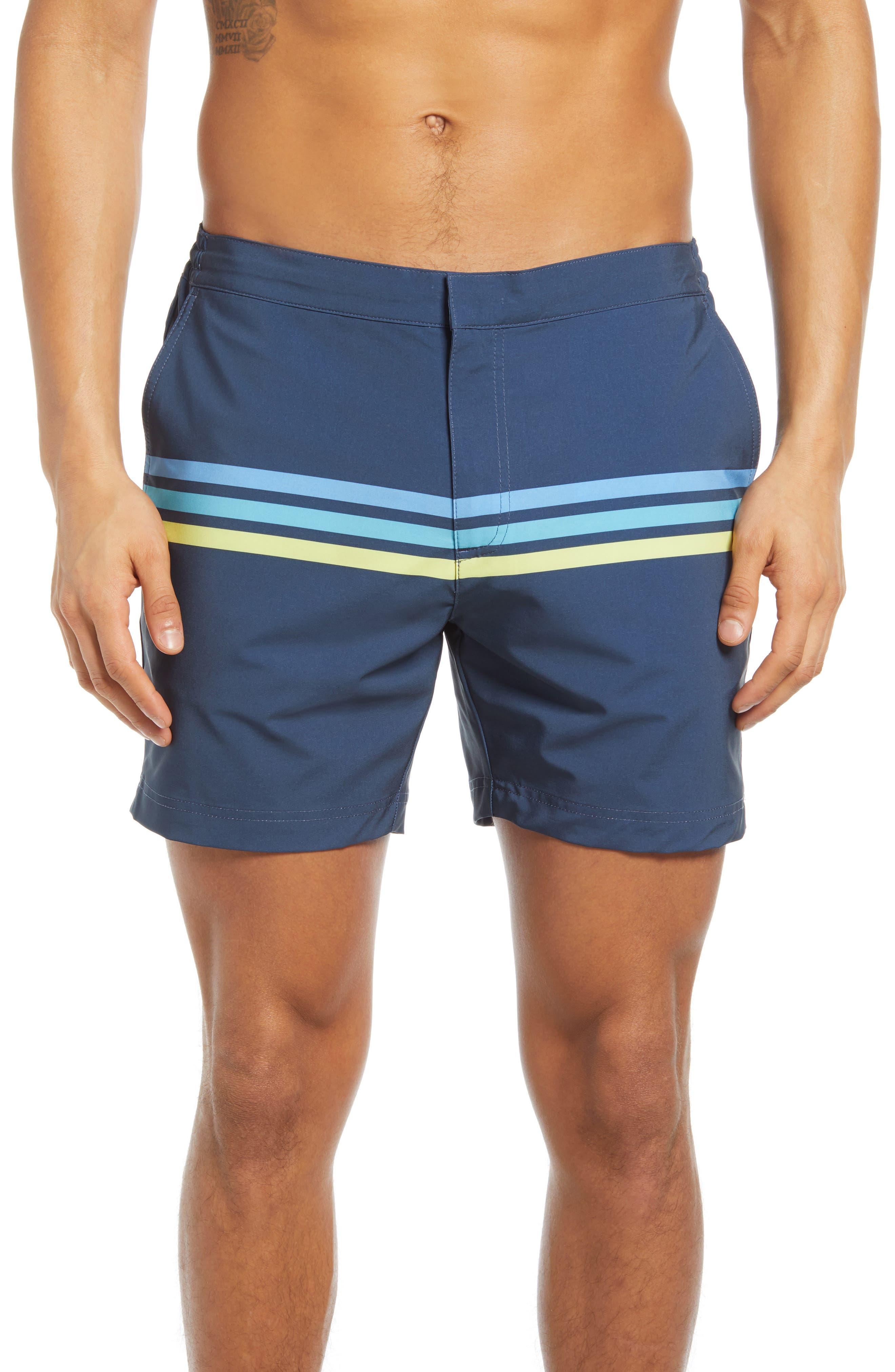 Vintage Men's Swimsuits – 1930s, 1940s, 1950s History Mens Fair Harbor The Sextant Stripe Swim Trunks Size 34 - Blue $88.00 AT vintagedancer.com