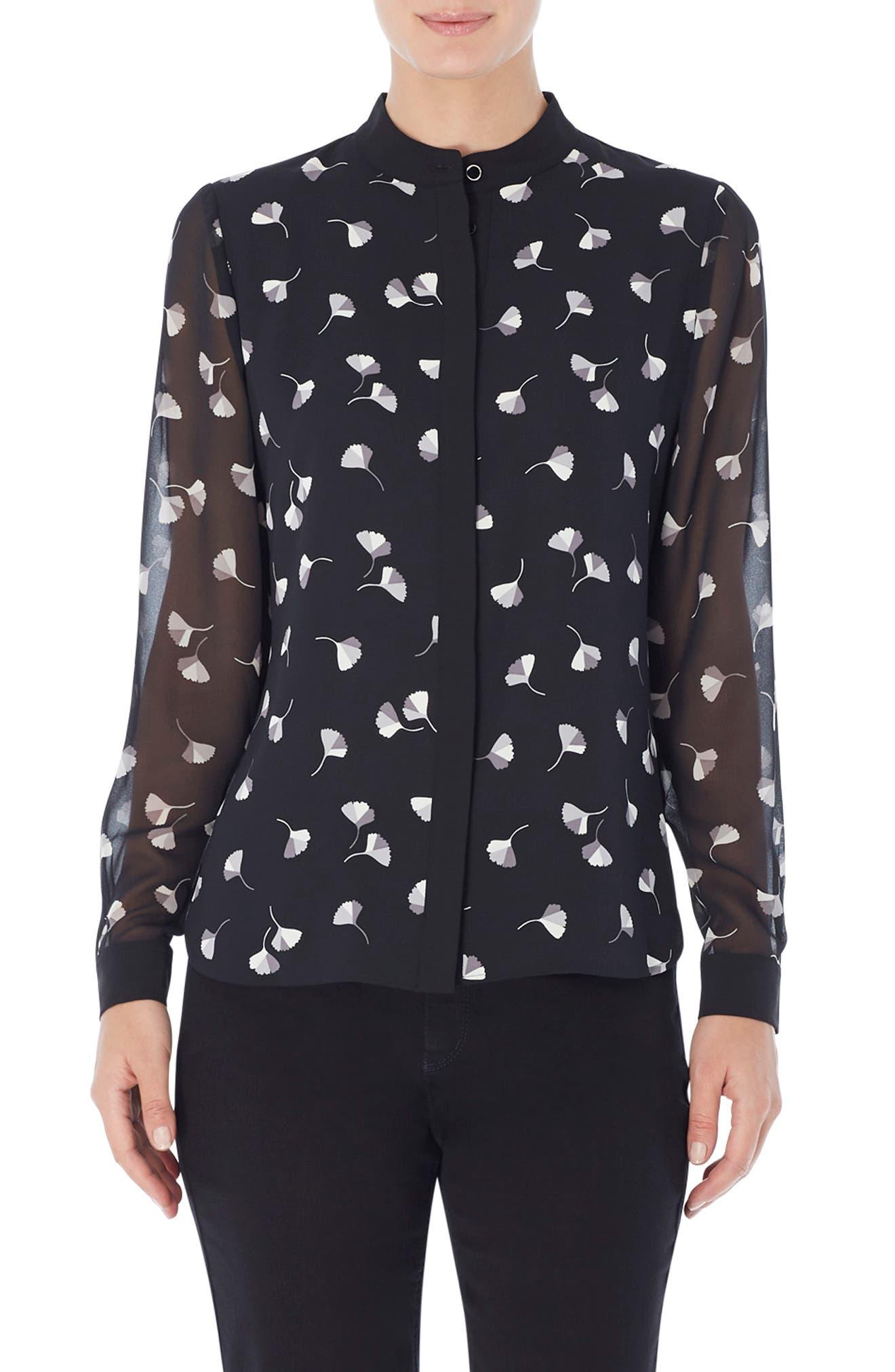 Print Collarless Button-Up Shirt