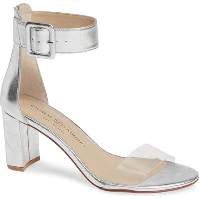 Chinese Laundry Reggie Ankle Strap Sandal- Metallic