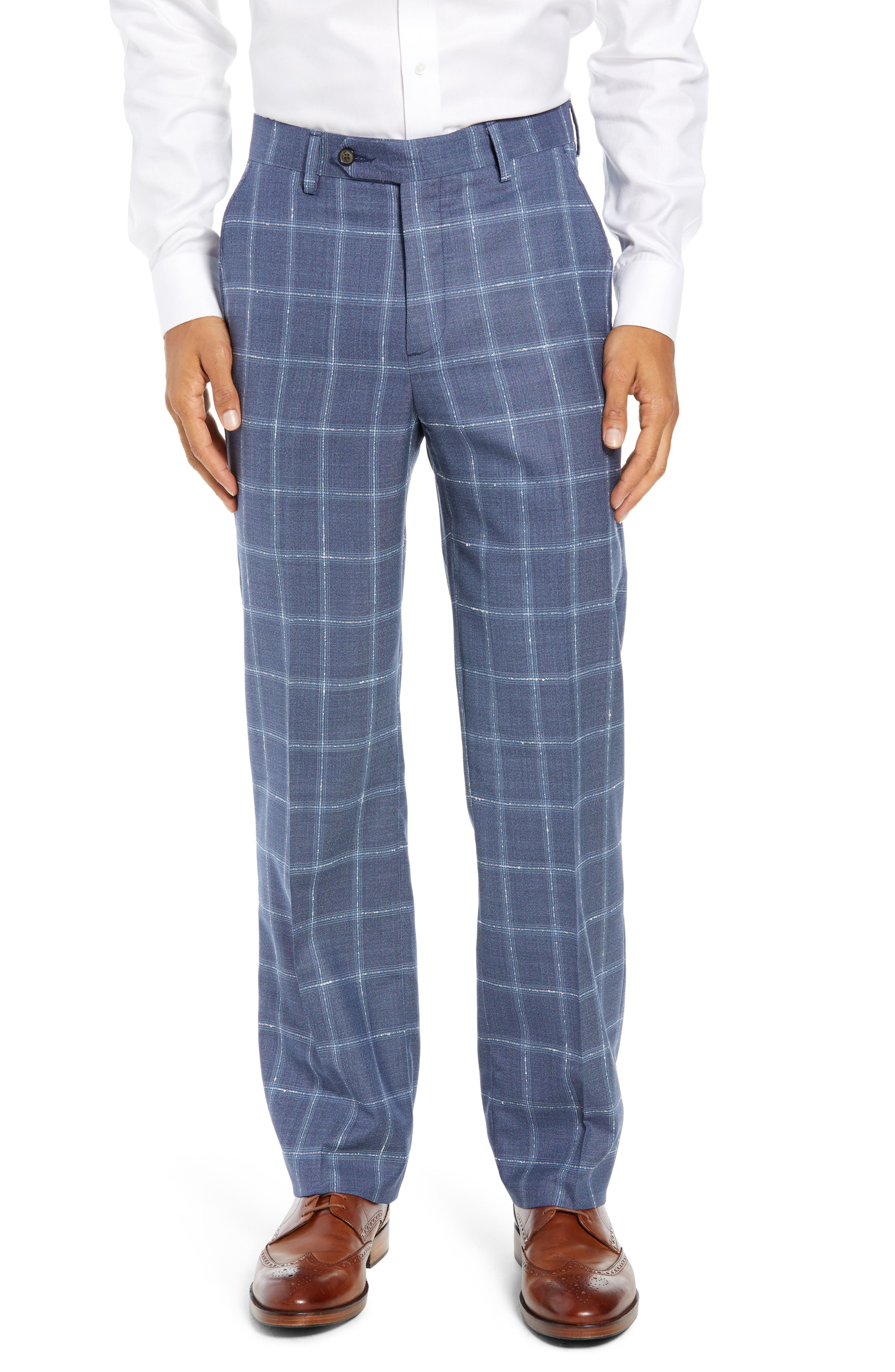 Charming plaid stamps smart trousers crafted from super 100s wool in a classic flat-front cut. Style Name: Berle Manufacturing Flat Front Plaid Wool Trousers. Style Number: 5710705. Available in stores.