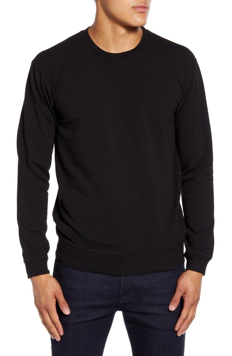 GOODLIFE Micro Terry Crewneck Sweatshirt, Main, color, BLACK