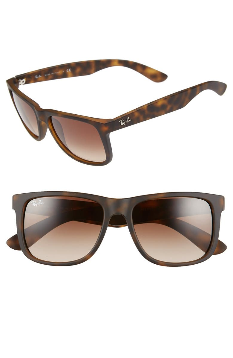 RAY-BAN 'Justin Classic' 54mm Sunglasses, Main, color, TORTOISE RUBBER/BROWN GRADIENT
