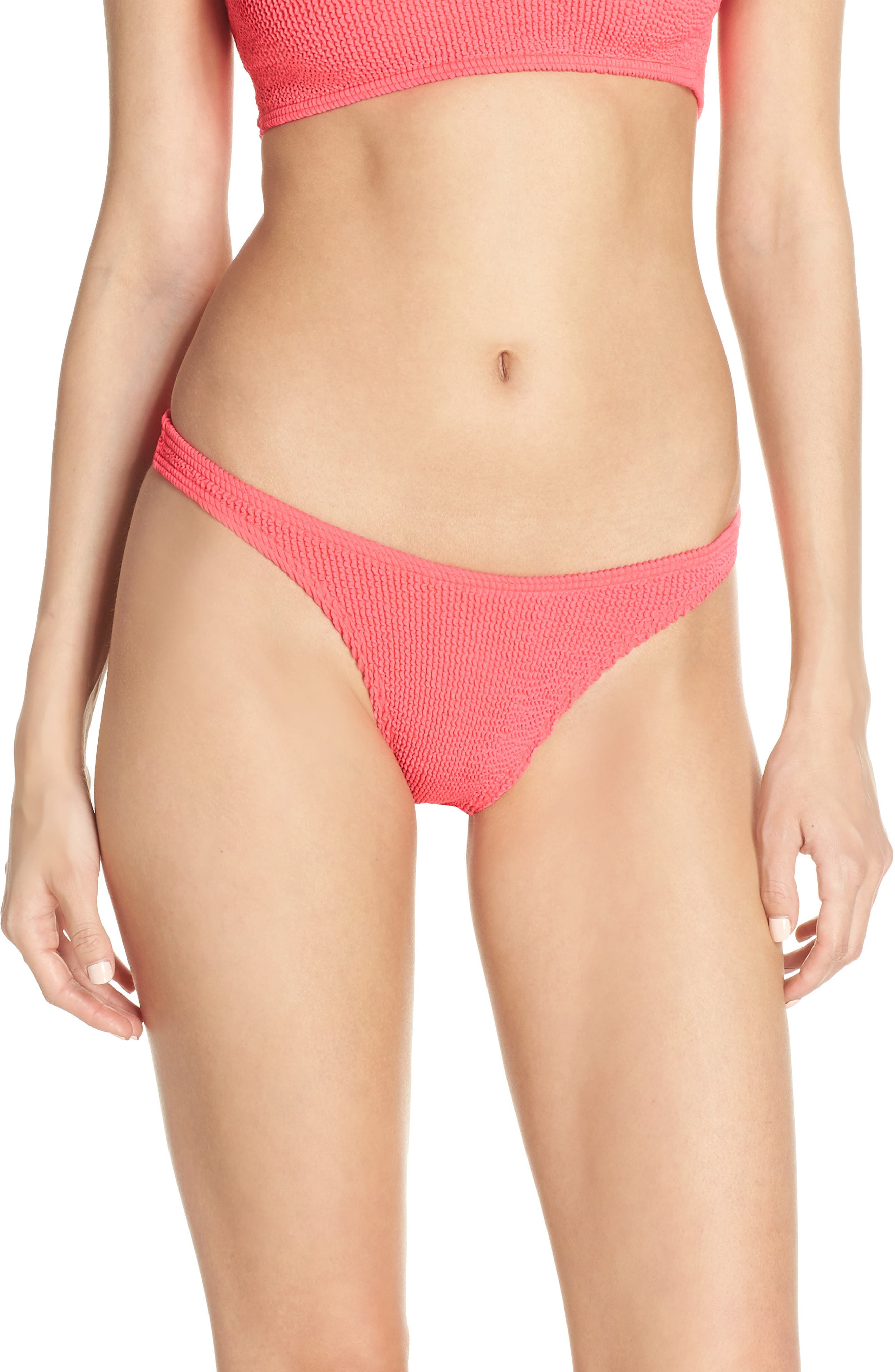 Bound By Bond-Eye The Scene High-Cut Ribbed Bikini Bottoms, Size One Size - Pink