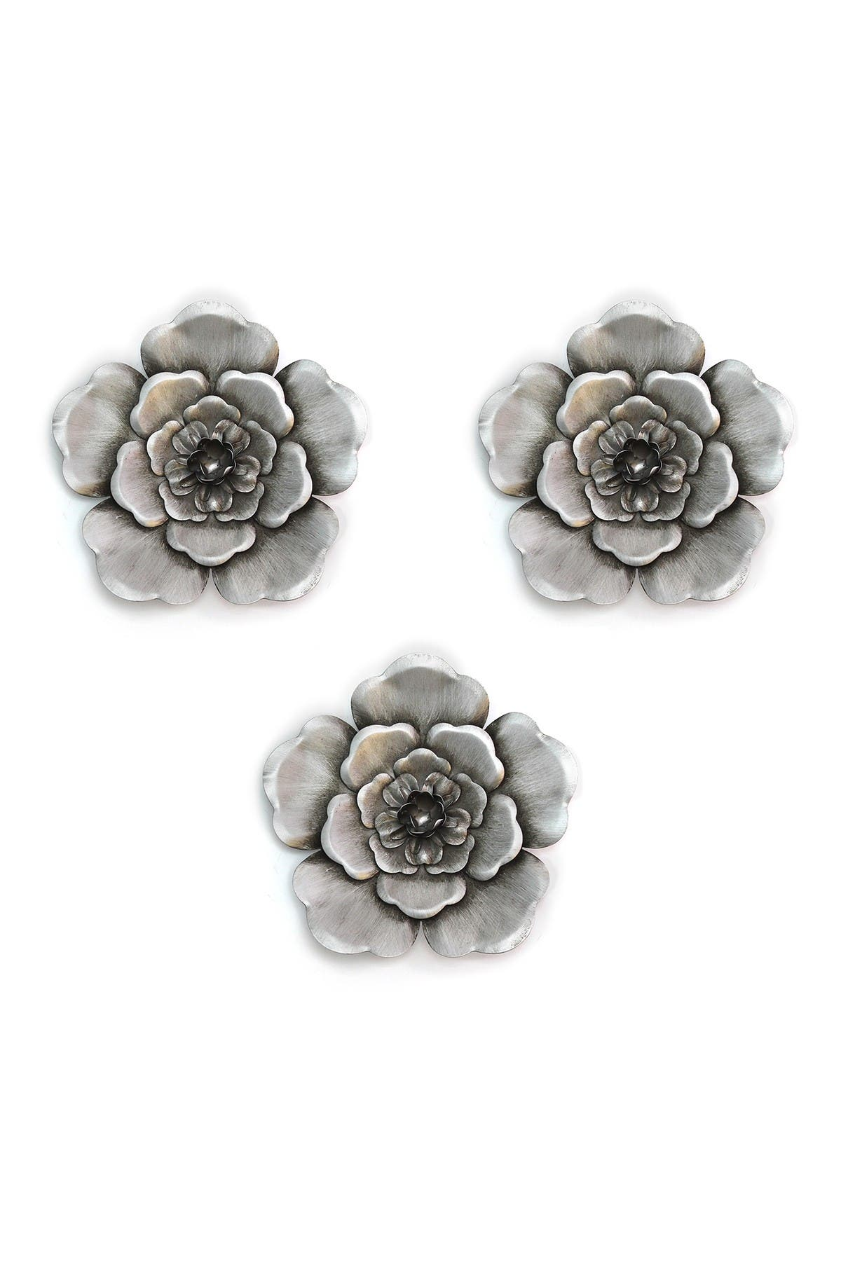 Image of Stratton Home Silver Metal Wall Flowers - Set of 3