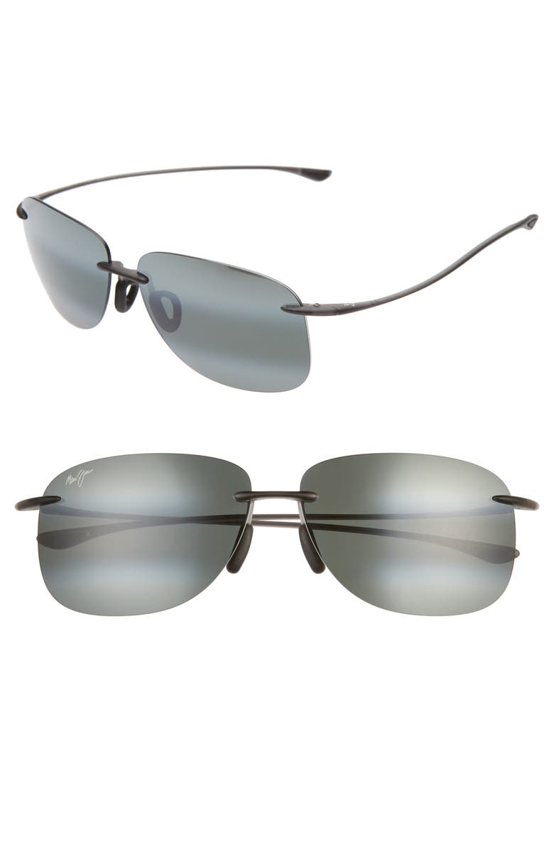 MAUI JIM Hikina 62mm PolarizedPlus2<sup>®</sup> Rimless Sunglasses, Main, color, GREY/ MATTE GREY