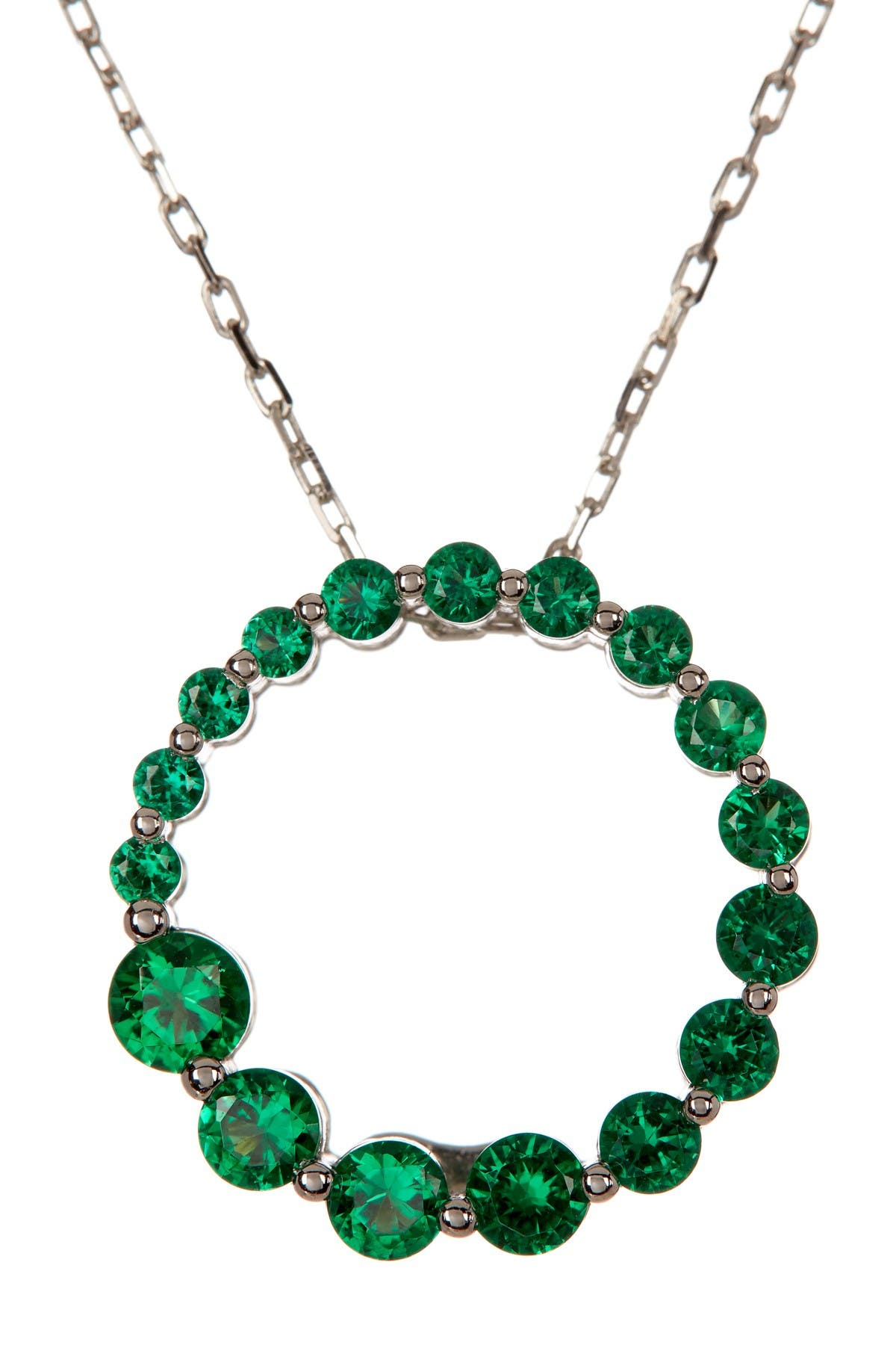 Image of Suzy Levian Sterling Silver Journey Emerald CZ Pendant