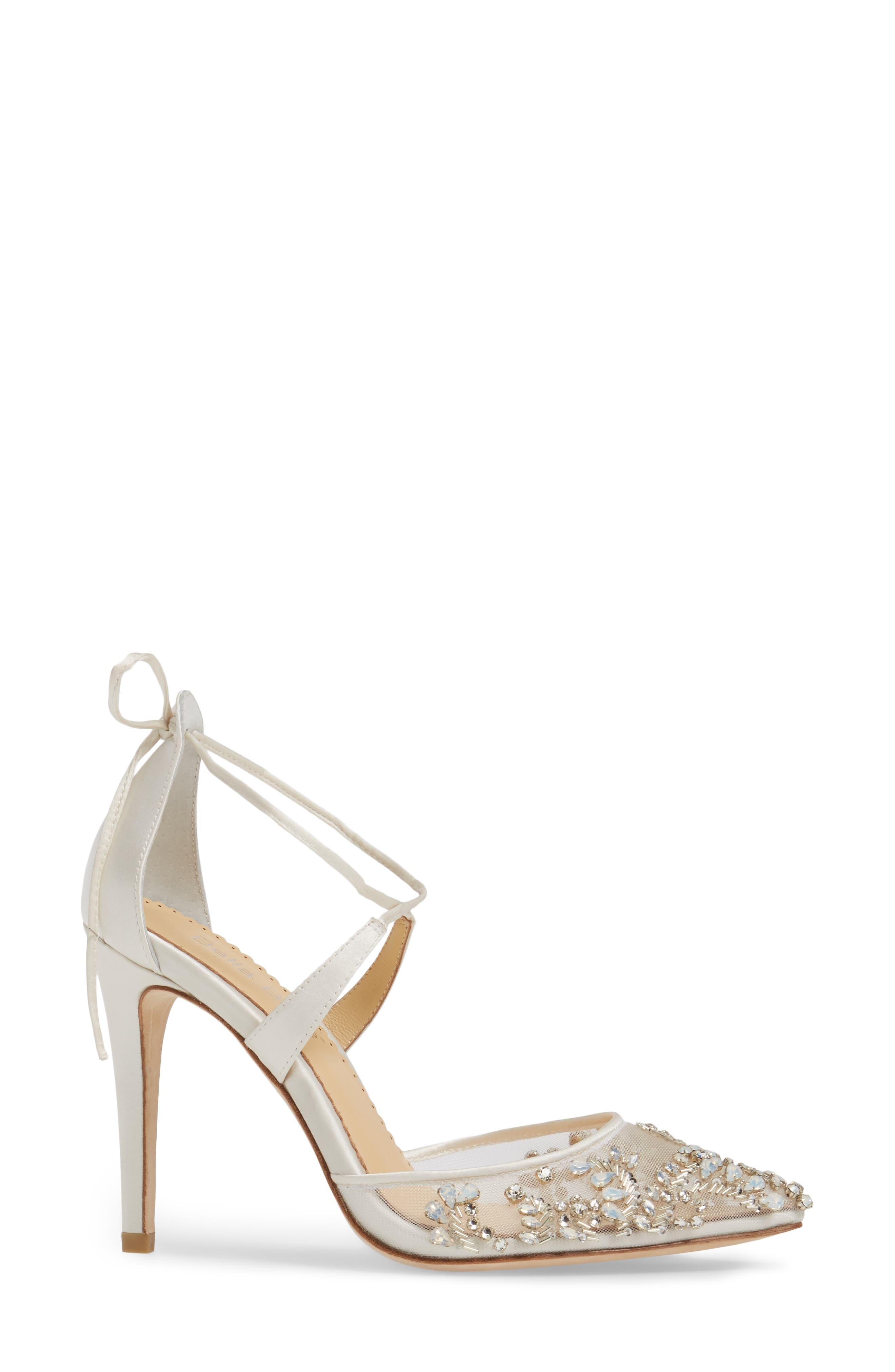 ,                             Florence Embellished Bow Sandal,                             Alternate thumbnail 3, color,                             IVORY FABRIC
