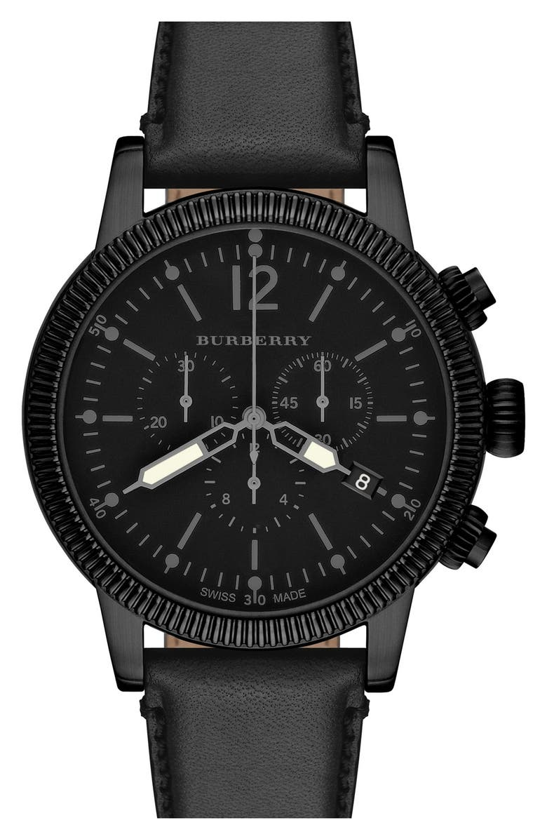 BURBERRY Round Leather Strap Watch, 42mm, Main, color, 001