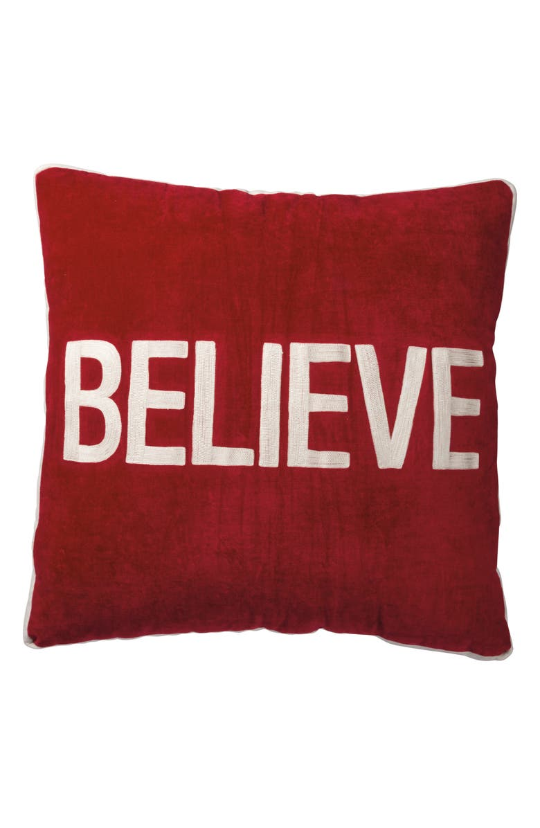 PRIMITIVES BY KATHY Believe Accent Pillow, Main, color, RED
