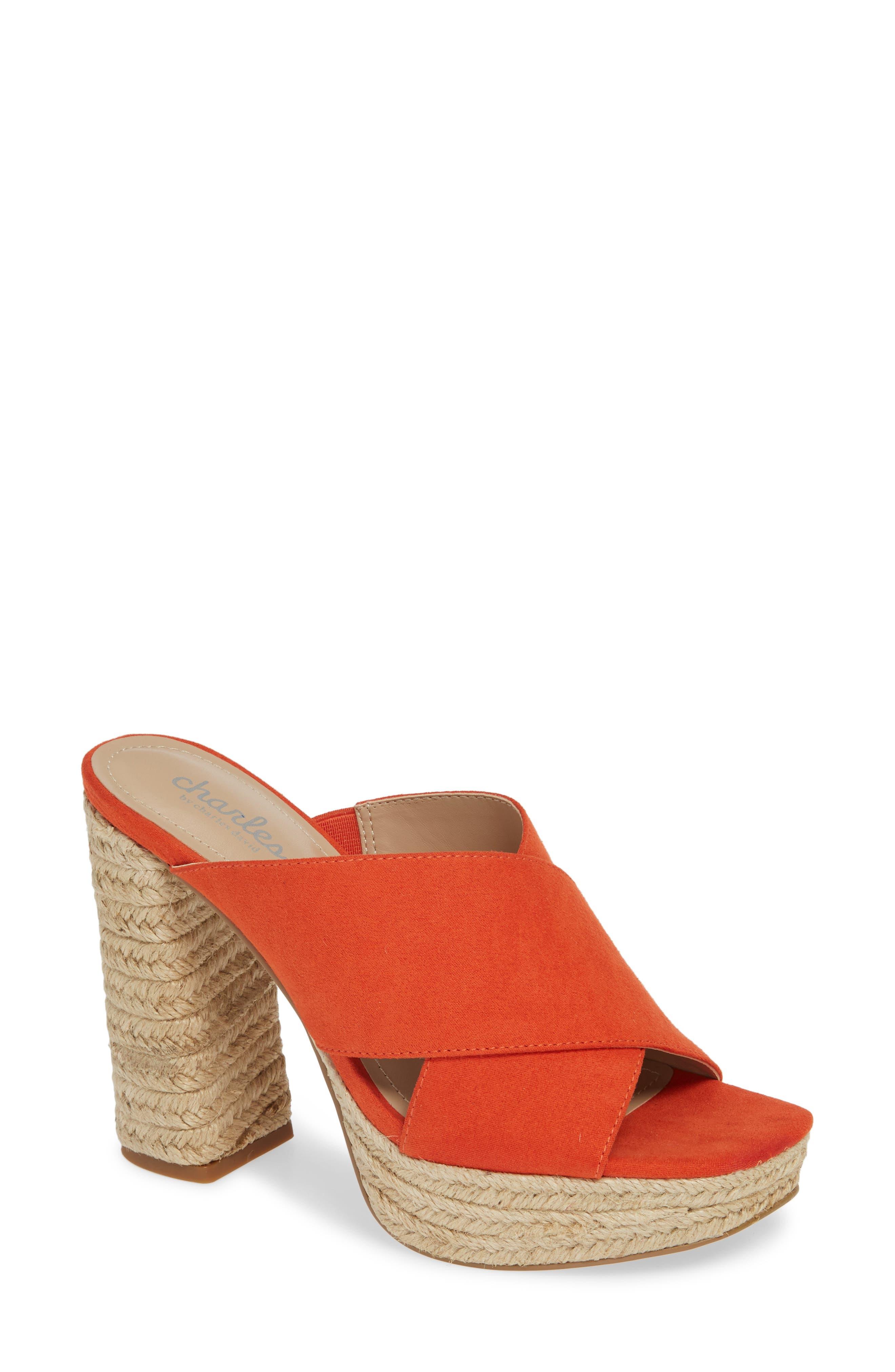 Charles By Charles David Index Platform Slide Sandal, Orange