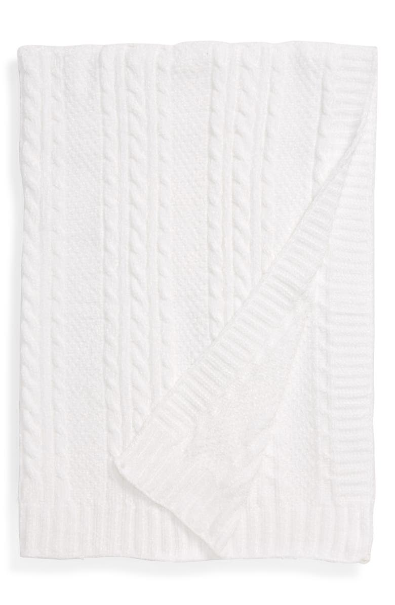 NORDSTROM Chenille Cable Knit Blanket, Main, color, WHITE
