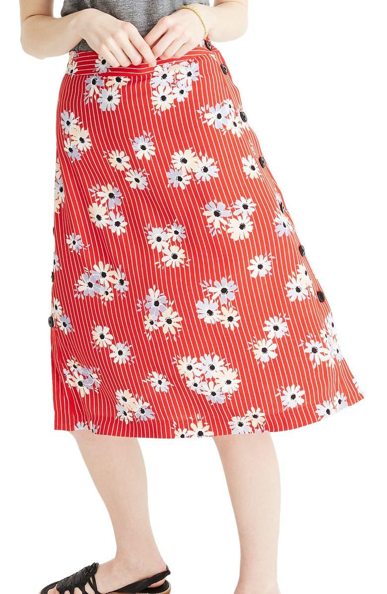 MADEWELL Daisy Side Button Skirt, Main, color, 600