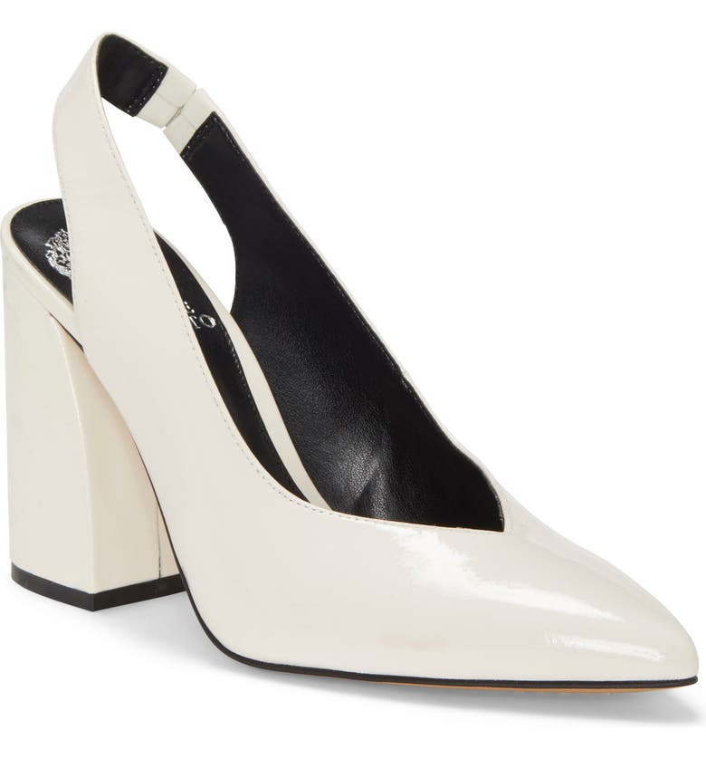 VINCE CAMUTO Almista Pointy Toe Slingback Pump, Main, color, WARM WHITE PATENT LEATHER