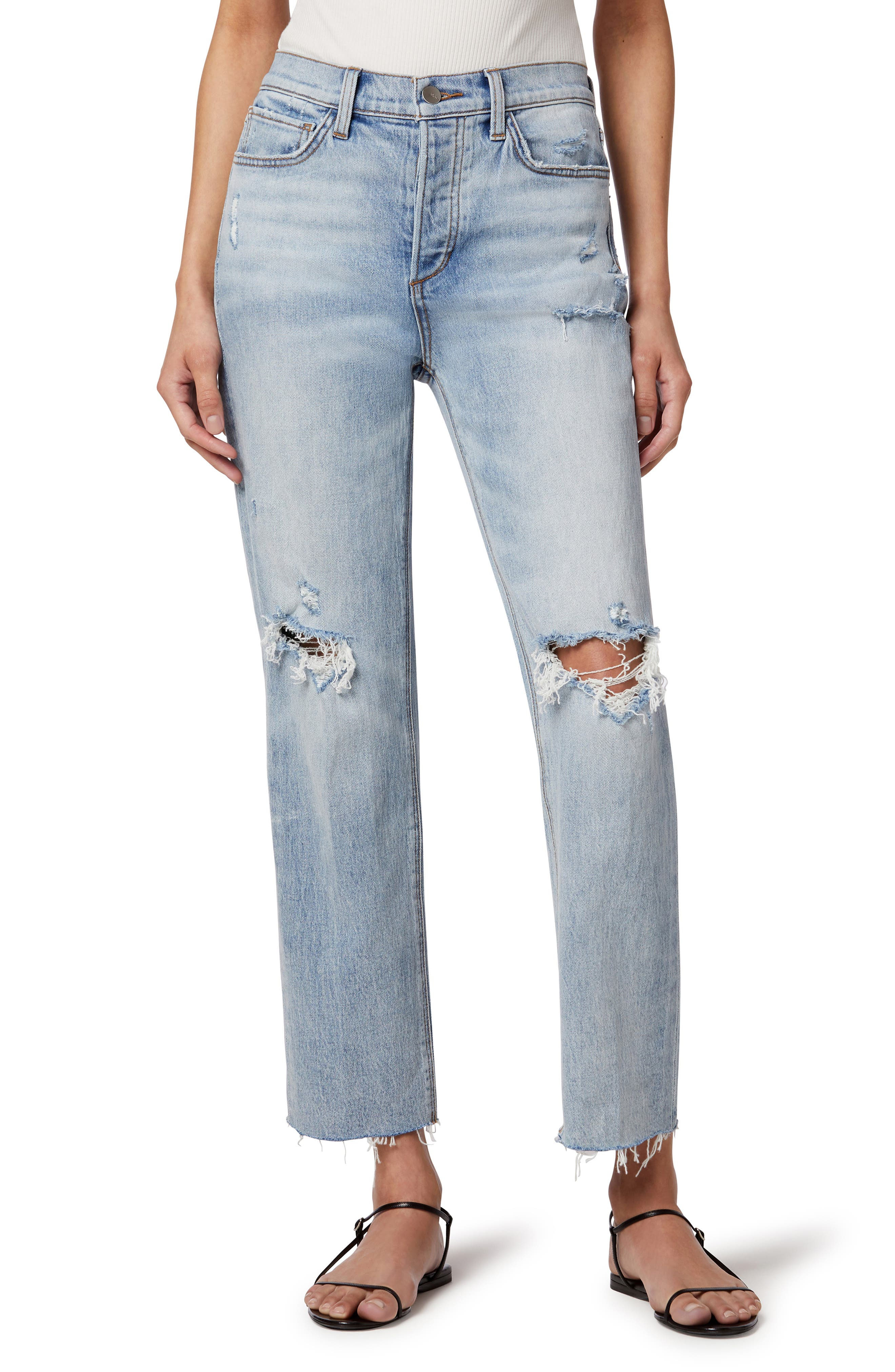 The Scout Ripped High Waist Raw Hem Ankle Straight Leg Jeans