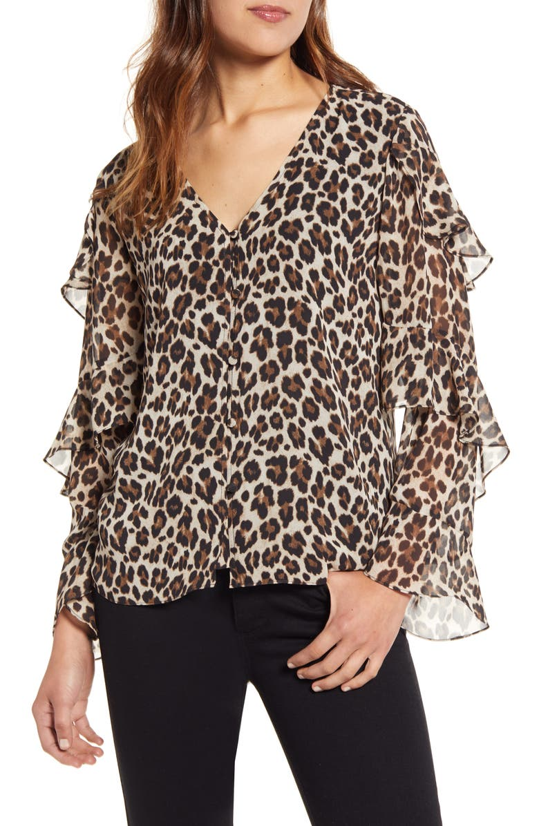 VINCE CAMUTO Leopard Print Tiered Sleeve Blouse, Main, color, RICH BLACK