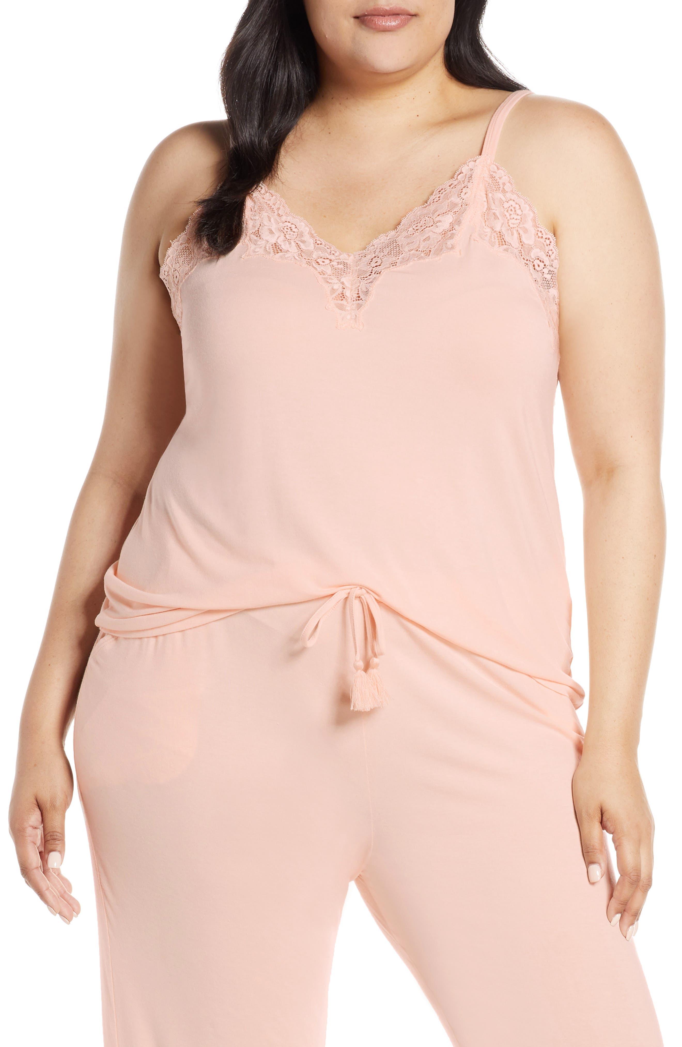 Plus Size Nordstrom Lingerie Moonlight Pajama Tank, Pink