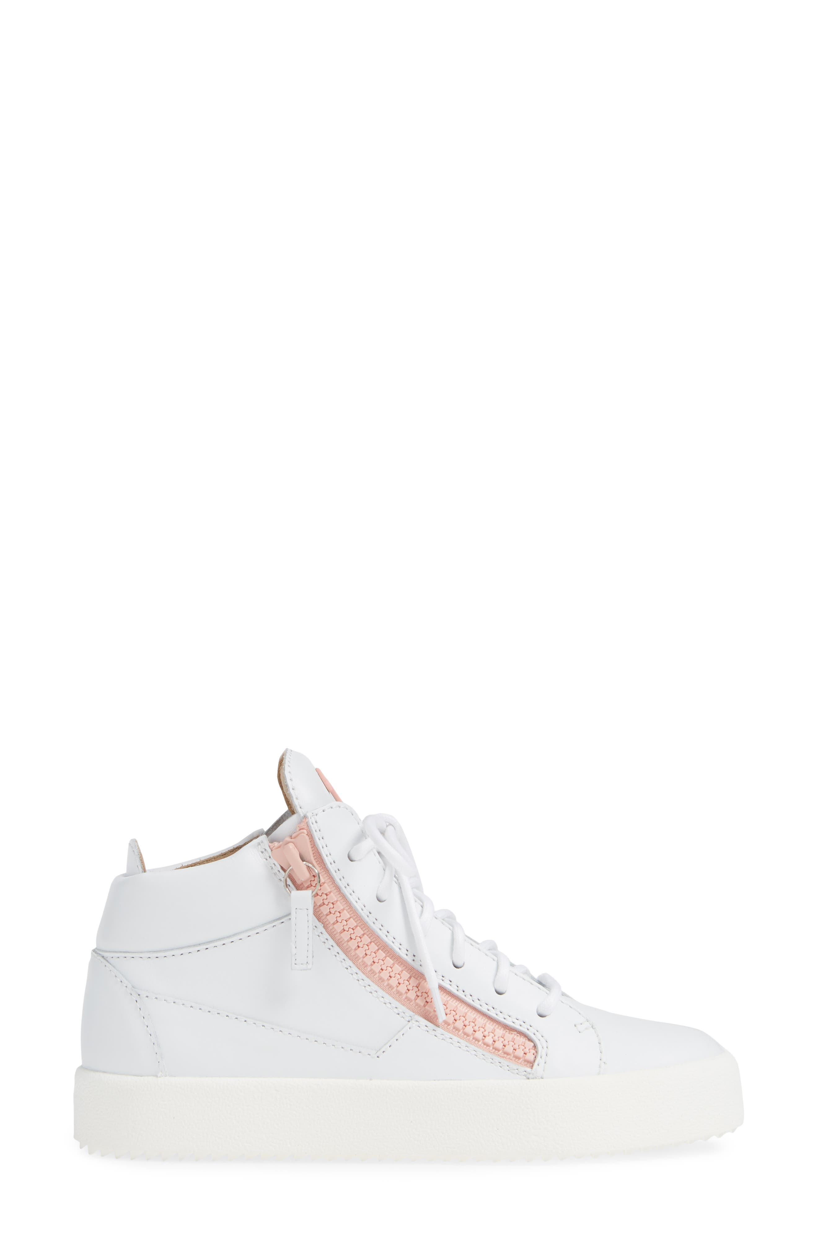 ,                             May London High Top Sneaker,                             Alternate thumbnail 3, color,                             WHITE/ PINK