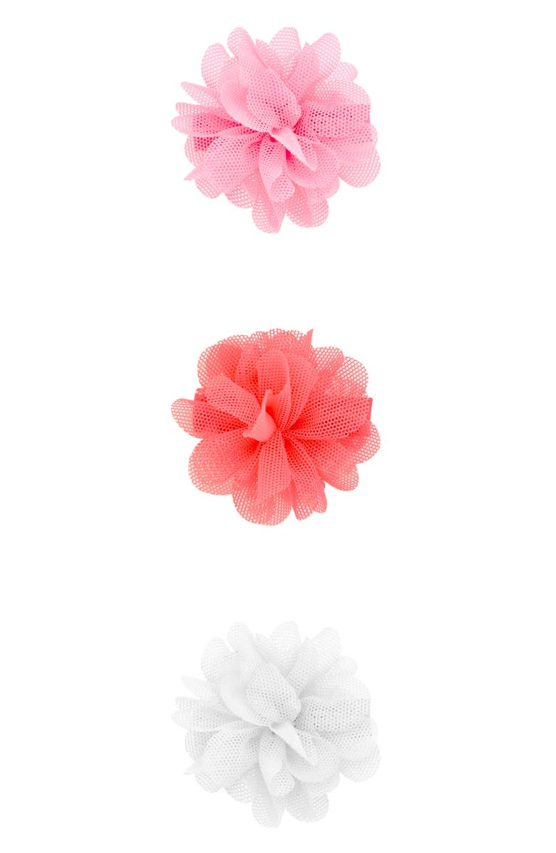 PLH BOWS 3-Pack Mesh Flower Hair Clips, Main, color, CORAL