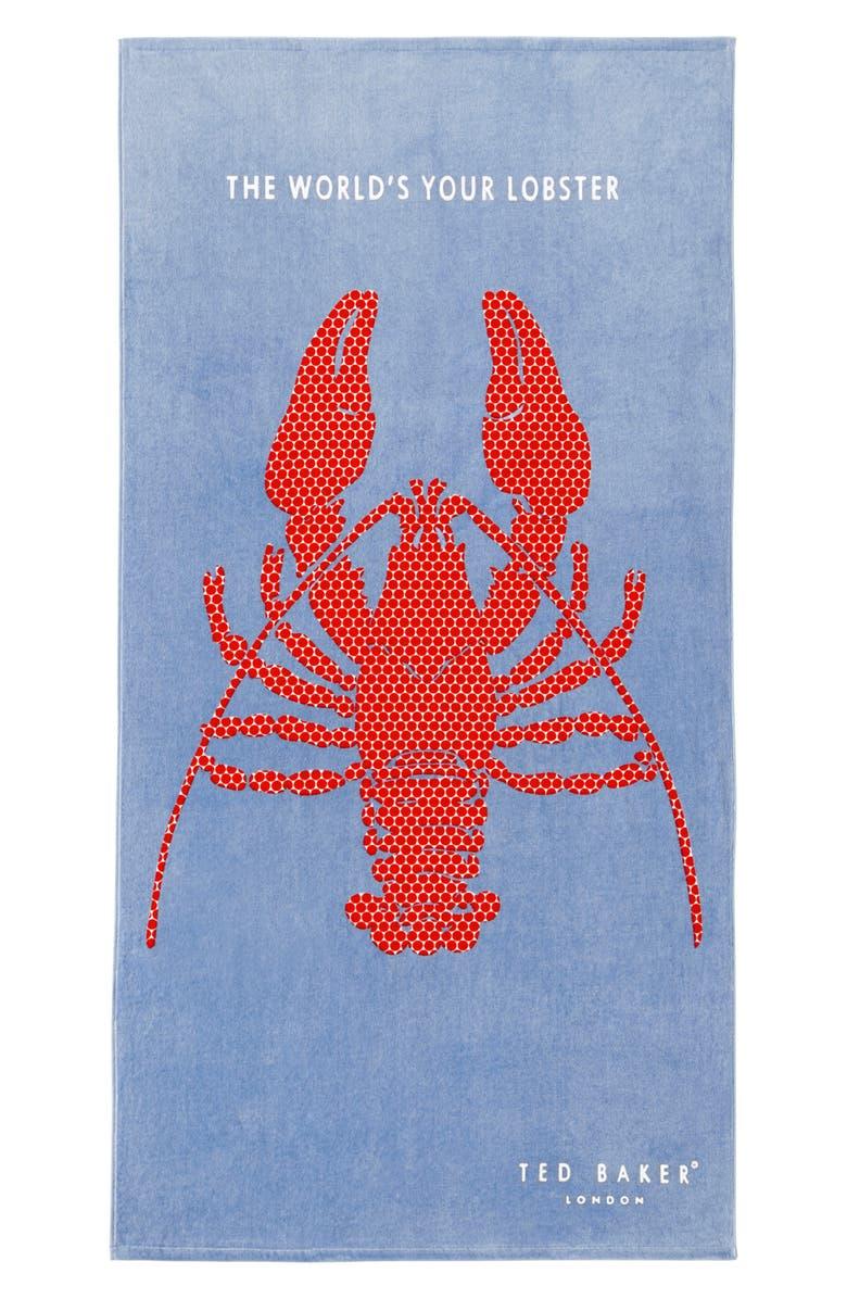 TED BAKER LONDON Lobster Beach Towel, Main, color, BLUE