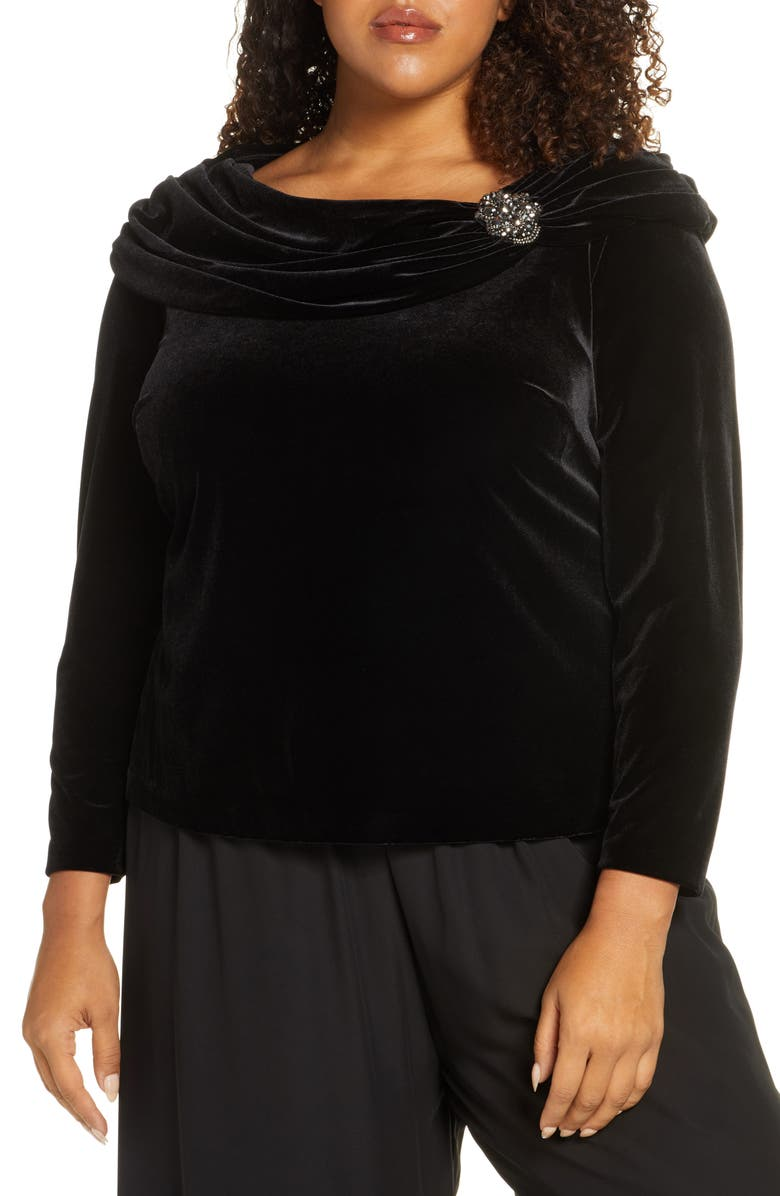 ALEX EVENINGS Ruched Collar Long Sleeve Velvet Top, Main, color, BLACK