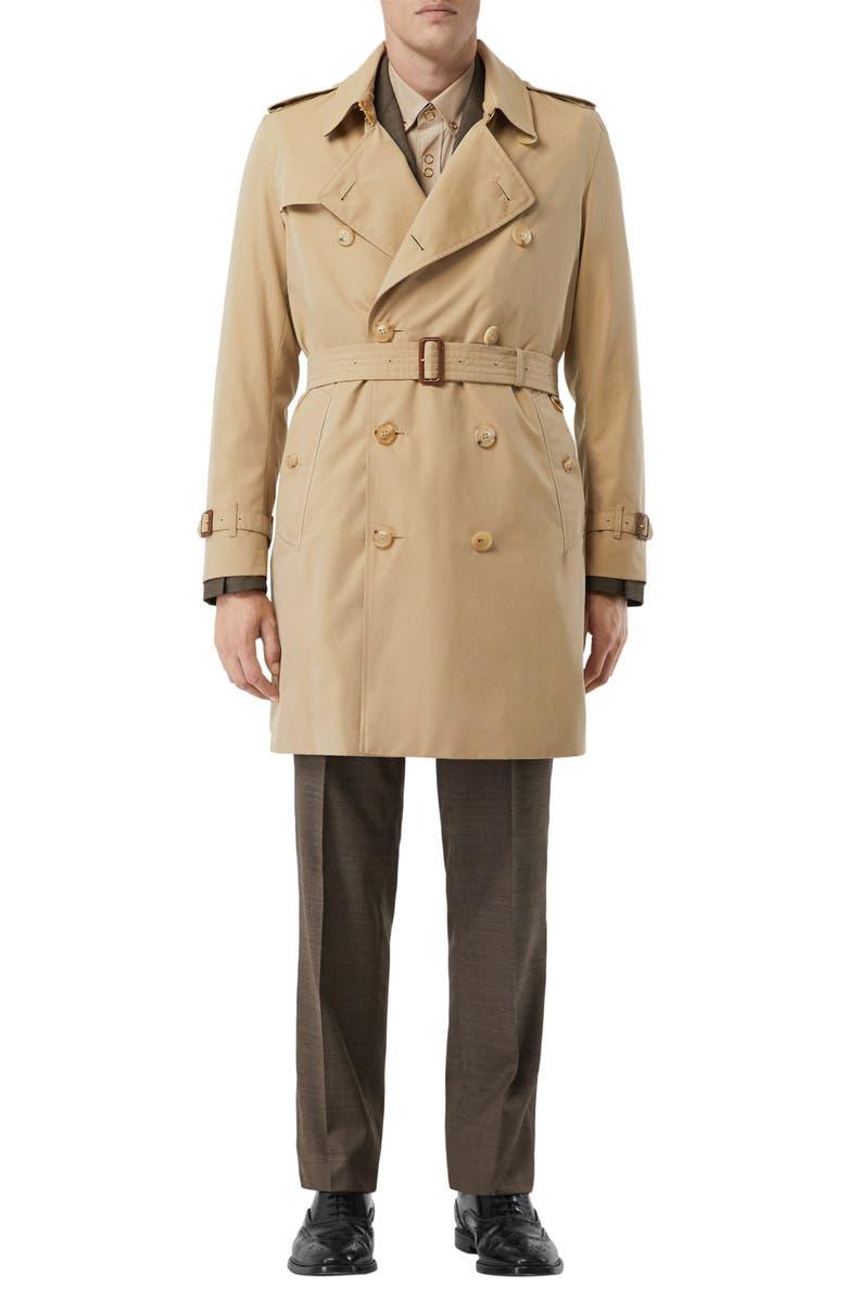 BURBERRY Kensington Mid Trench Coat, Main, color, HONEY