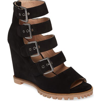 Linea Paolo Wisteria Buckle Wedge Sandal- Black