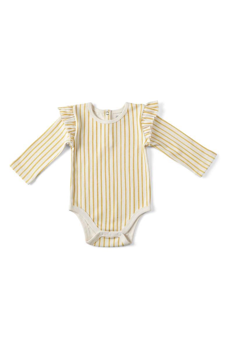 PEHR Stripes Away Ruffle Bodysuit, Main, color, MARIGOLD