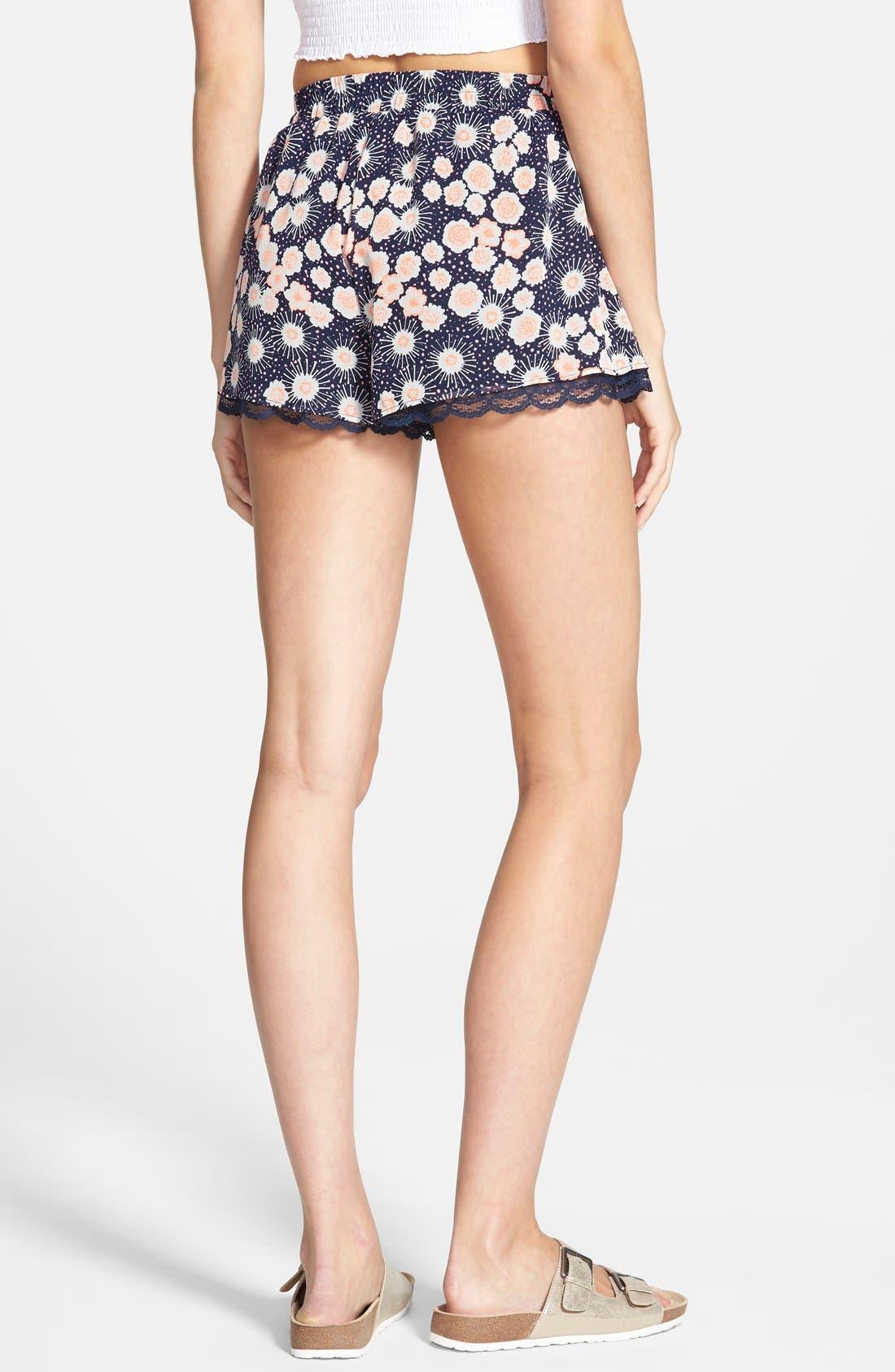 ,                             Lace Trim Floral Print Shorts,                             Alternate thumbnail 18, color,                             401