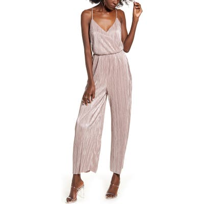 All In Favor Metallic Racerback Jumpsuit, Pink