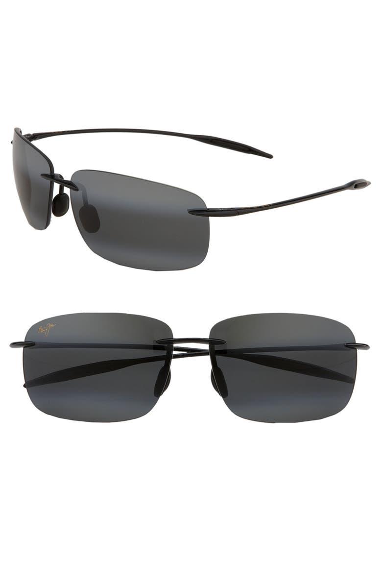 MAUI JIM 'Breakwall - PolarizedPlus<sup>®</sup>2' 63mm Sunglasses, Main, color, BLACK GLOSS