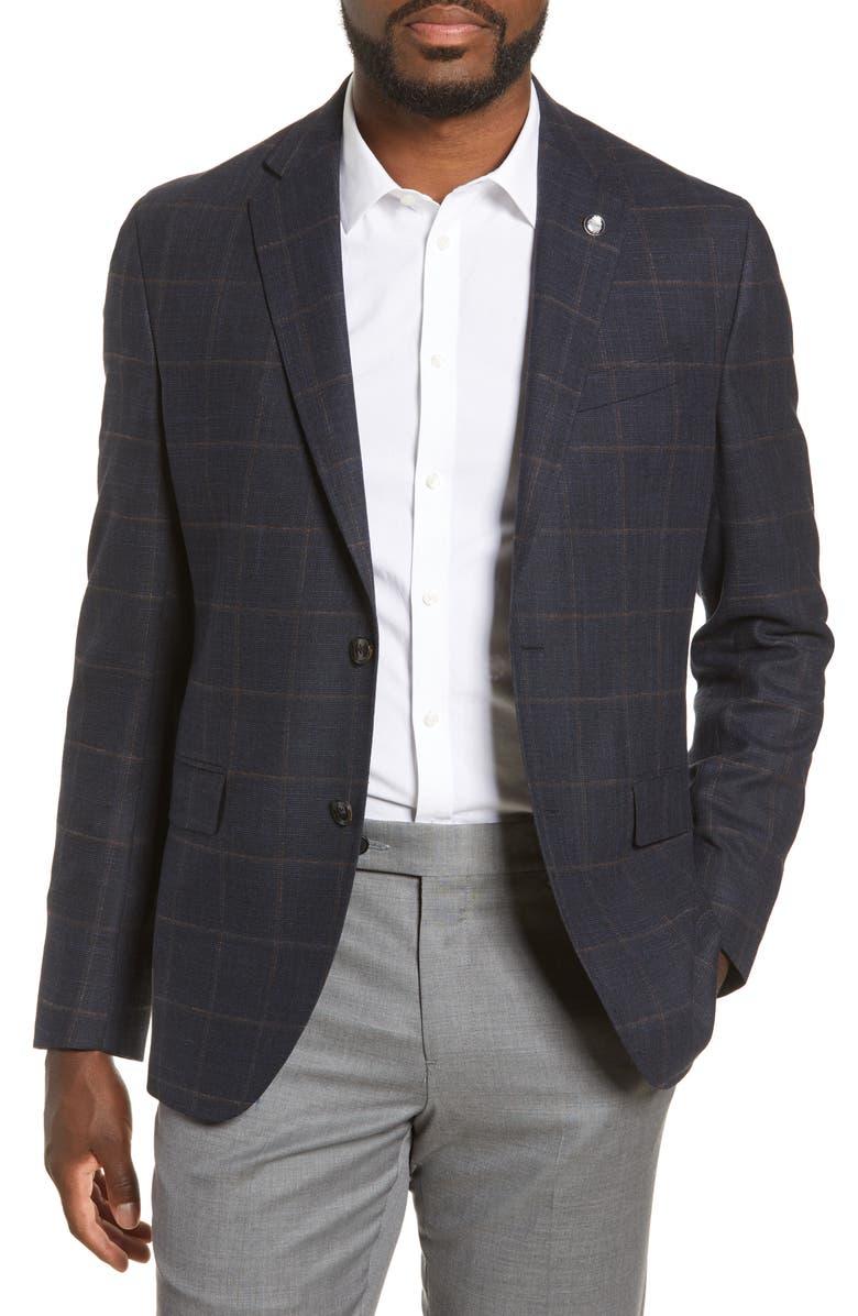 TED BAKER LONDON Konan Trim Fit Windowpane Stretch Wool Blend Sport Coat, Main, color, NAVY