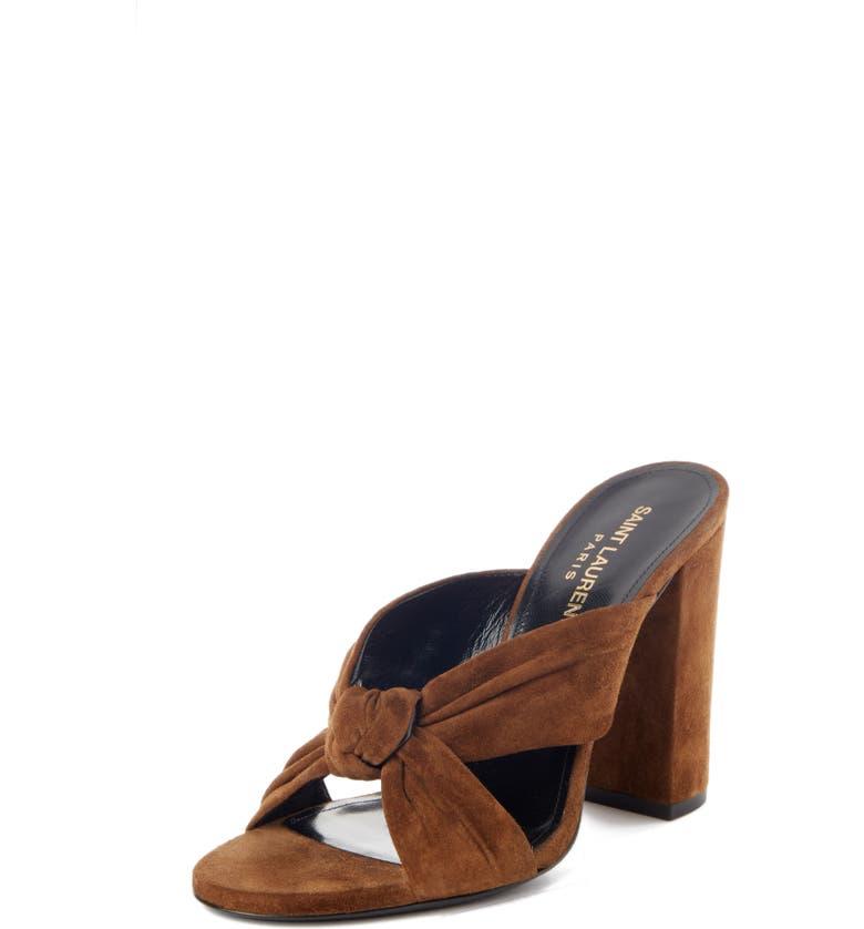 SAINT LAURENT Loulou Knot Slide Sandal, Main, color, LAND