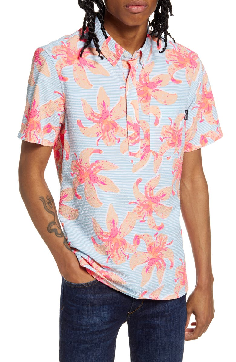 CHUBBIES The Bloomslam Short Sleeve Button-Down Popover Seersucker Shirt, Main, color, 450
