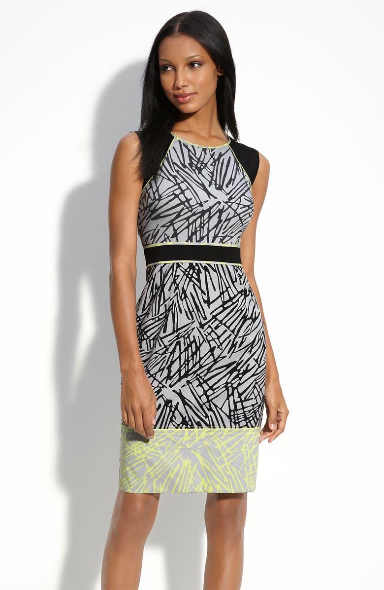 BCBGMAXAZRIA Stretch Cotton Sheath Dress, Main, color, 003