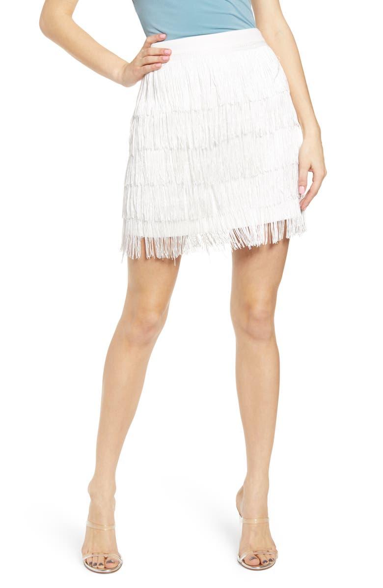 ENDLESS ROSE Fringe Miniskirt, Main, color, WHITE