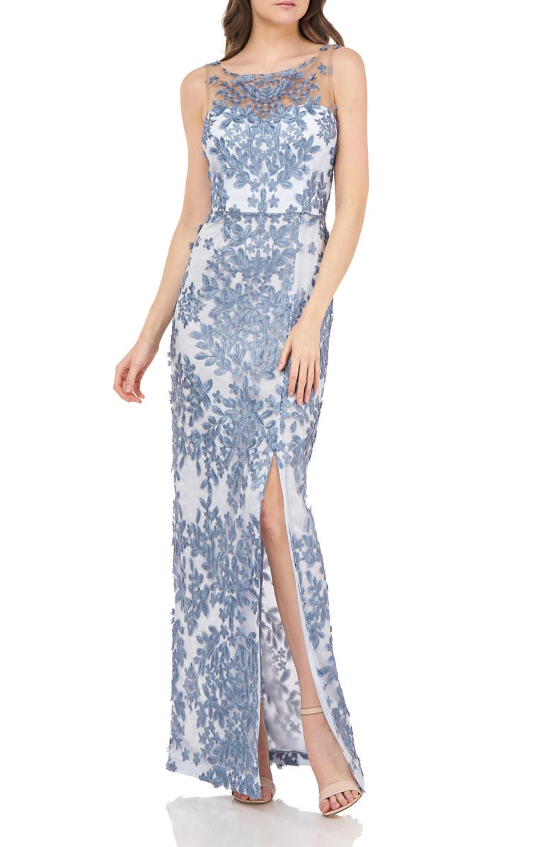 JS COLLECTIONS Leaf Embroidered Gown, Main, color, MINERAL BLUE