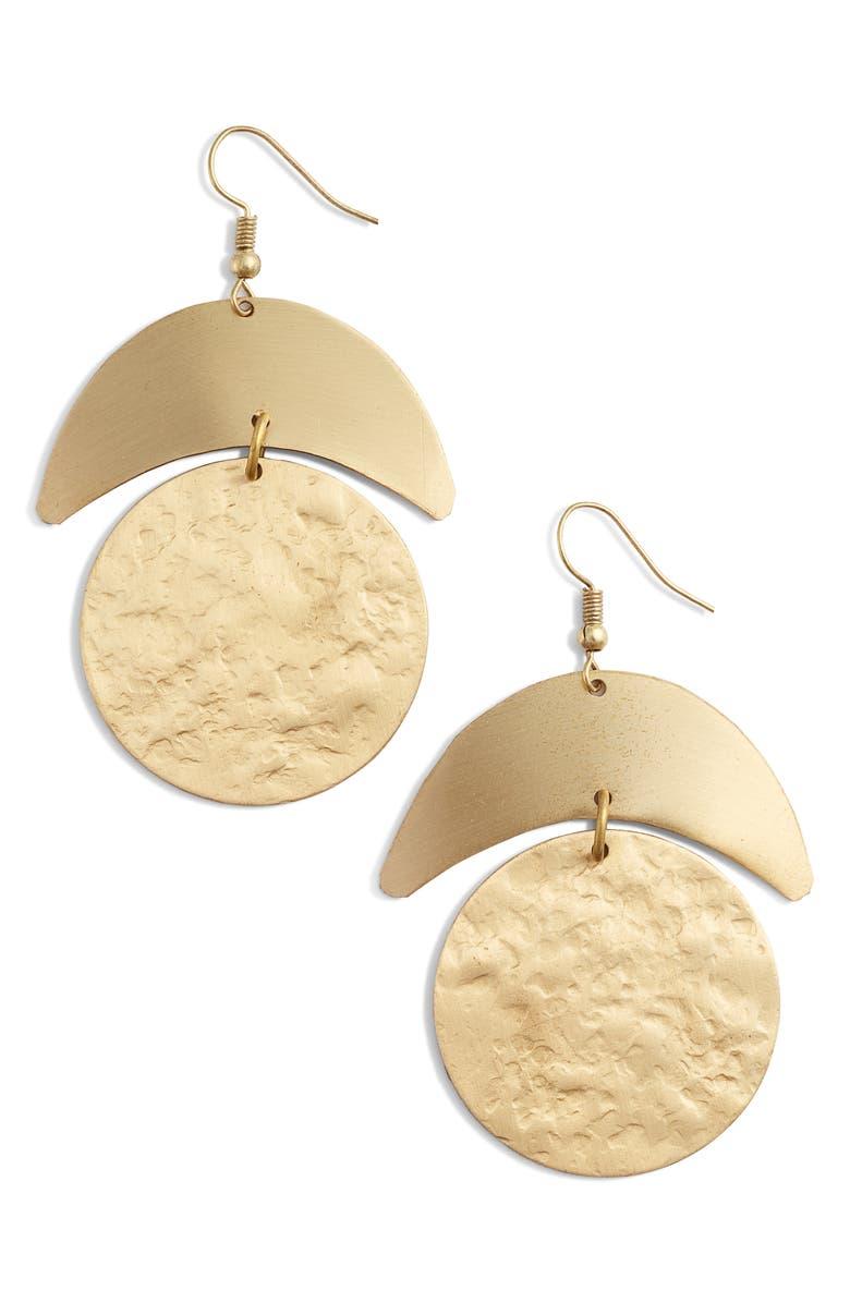 TEN79LA Moon Drop Earrings, Main, color, GOLD