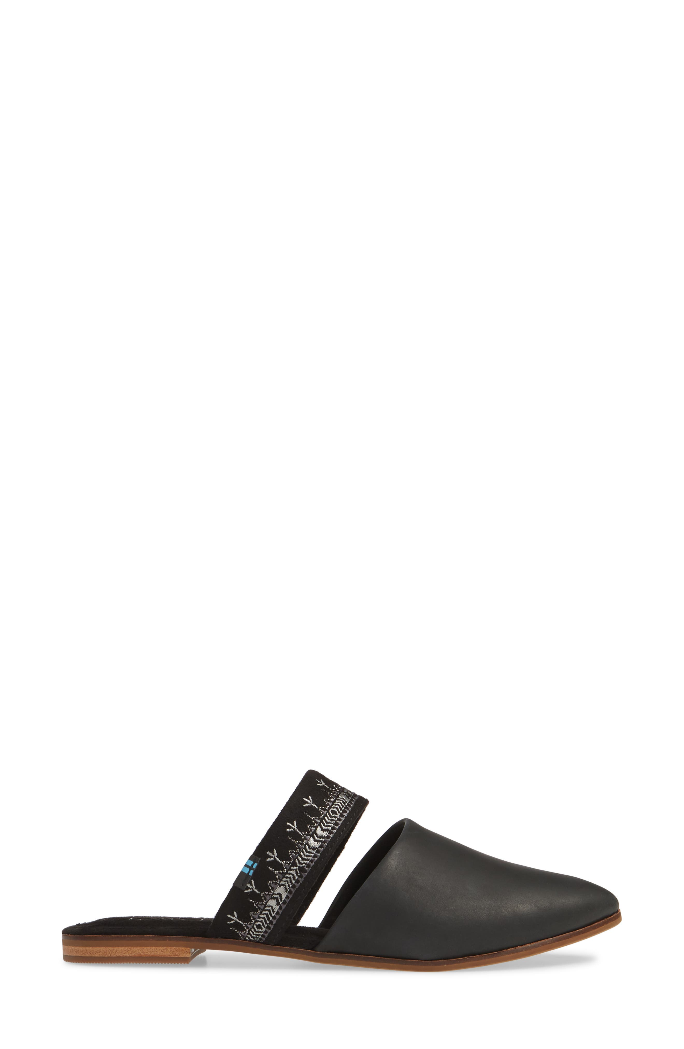 ,                             Jutti Embroidered Mule,                             Alternate thumbnail 3, color,                             BLACK EMBROIDERED LEATHER