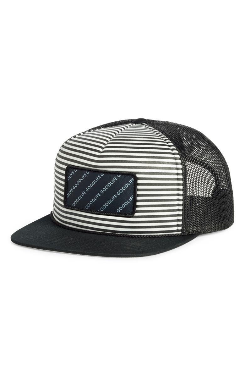 GOODLIFE Stripe Trucker Hat, Main, color, 001