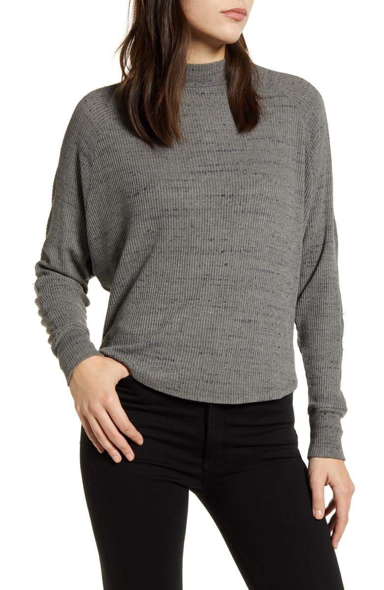 TREASURE & BOND Space Dye Long Sleeve Mock Neck Sweater, Main, color, GREY HEATHER
