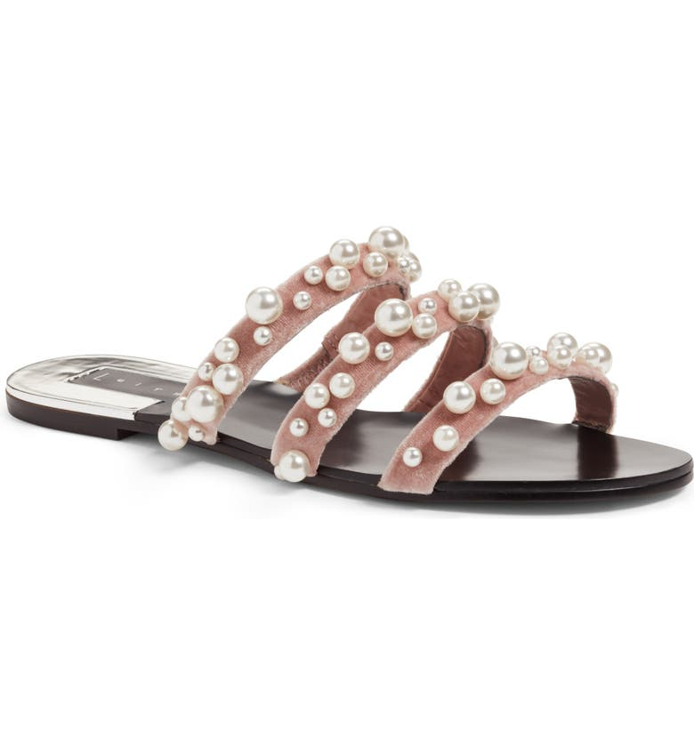 LEITH Stunner Embellished Strappy Slide Sandal, Main, color, BLUSH VELVET