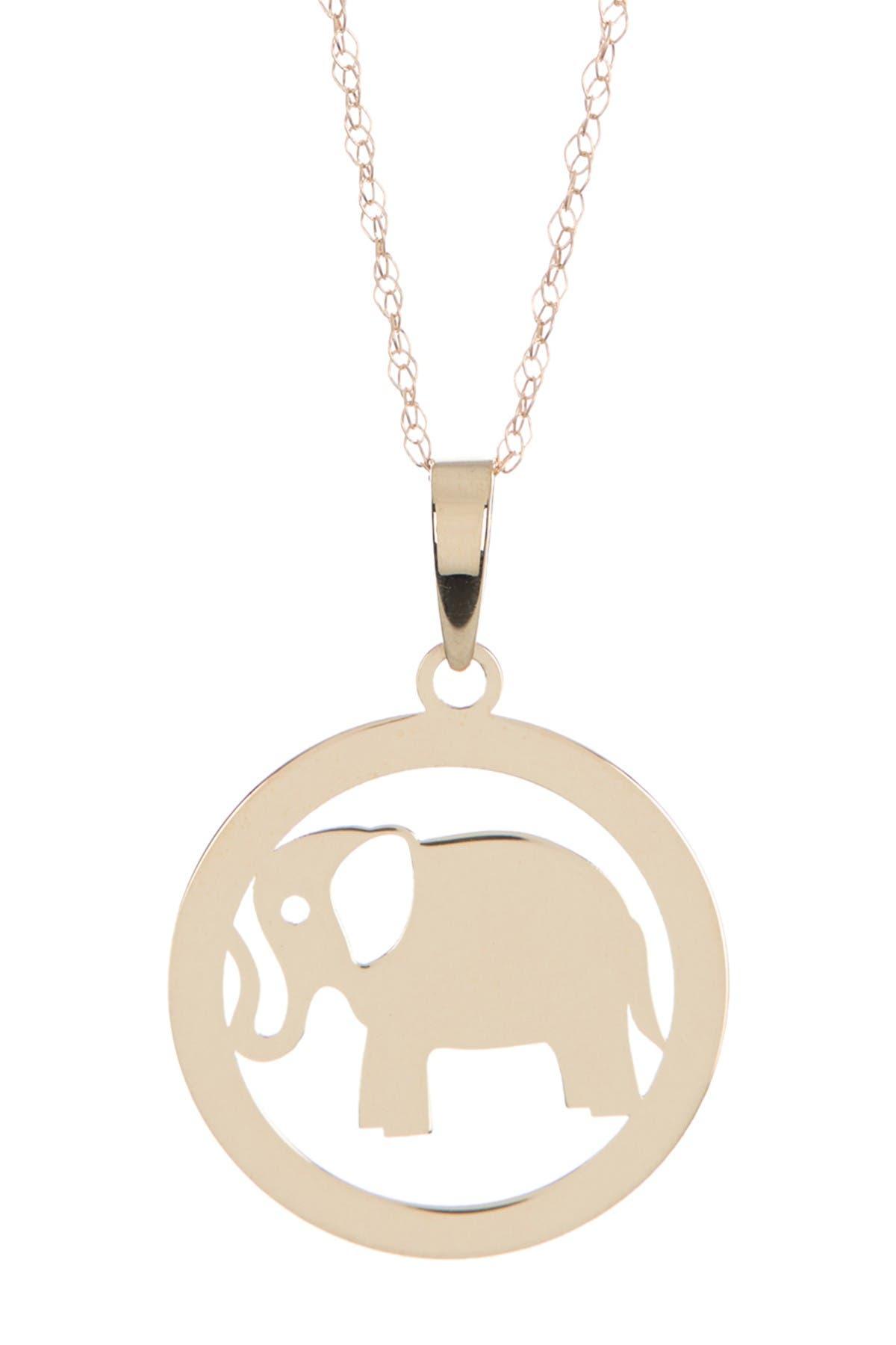 Image of Candela 14K Gold Elephant Disc Pendant Necklace