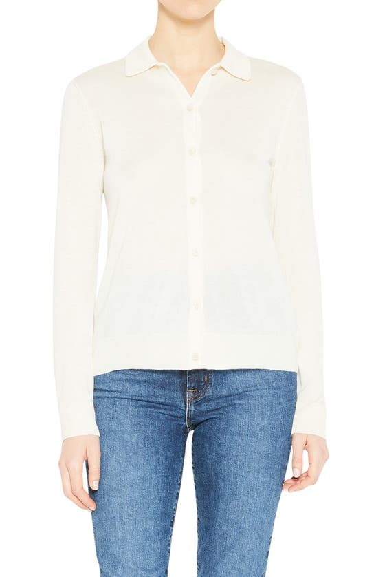Theory SILK & CASHMERE BLEND POLO CARDIGAN