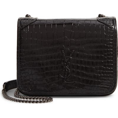 Saint Laurent Niki Croc Embossed Leather Wallet On A Chain - Black