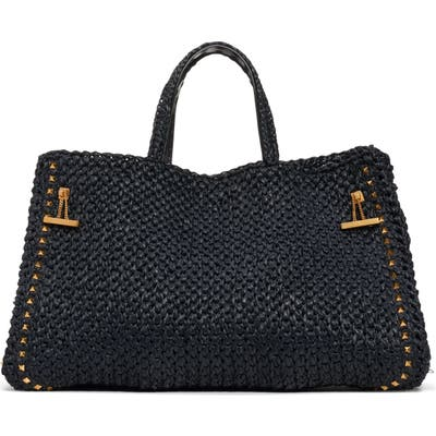 Valentino Garavani Medium Double Handle Raffia Bag - Black