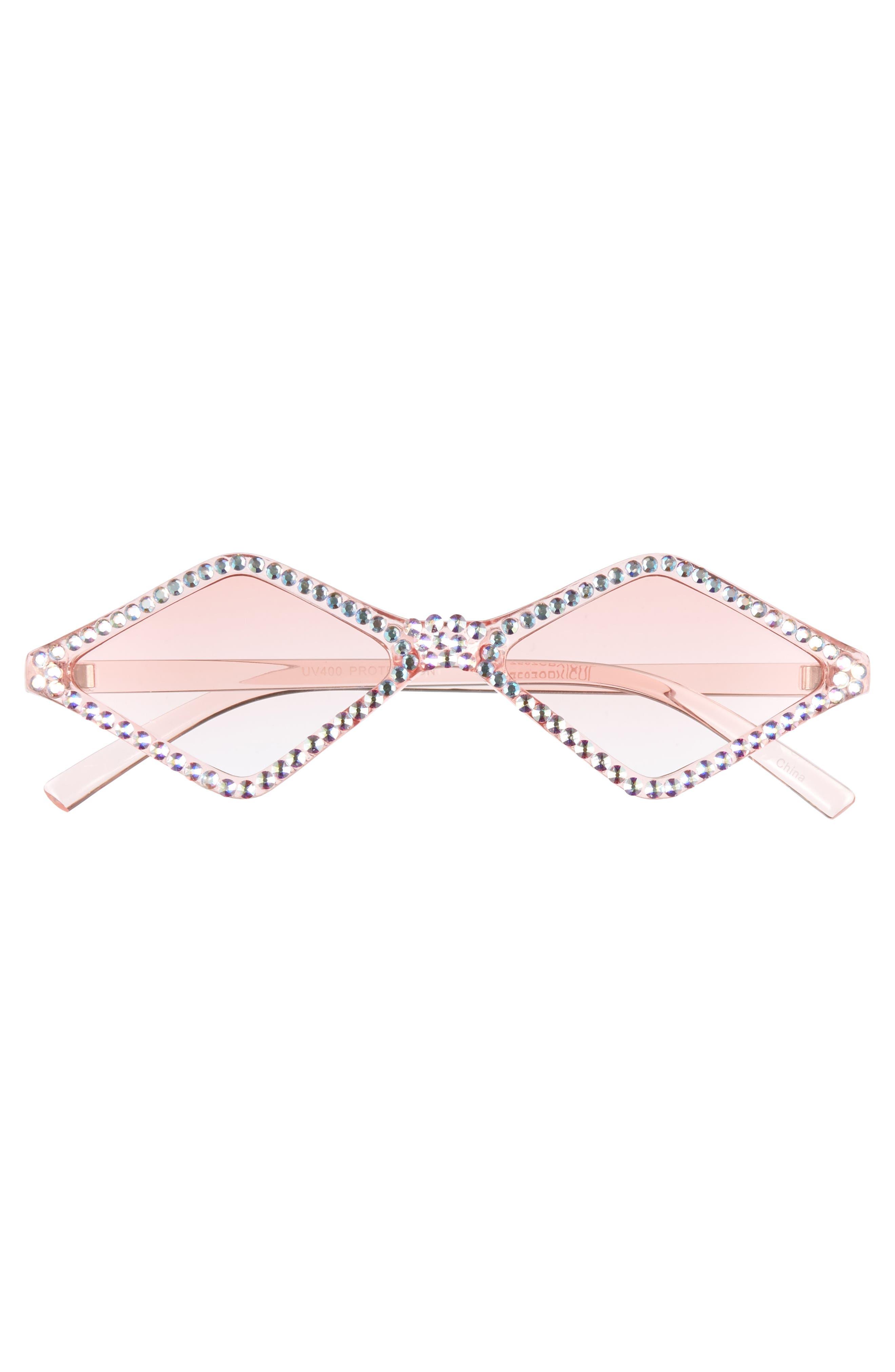 ,                             Geometric Crystal Frame Sunglasses,                             Alternate thumbnail 3, color,                             PINK/ CRYSTAL