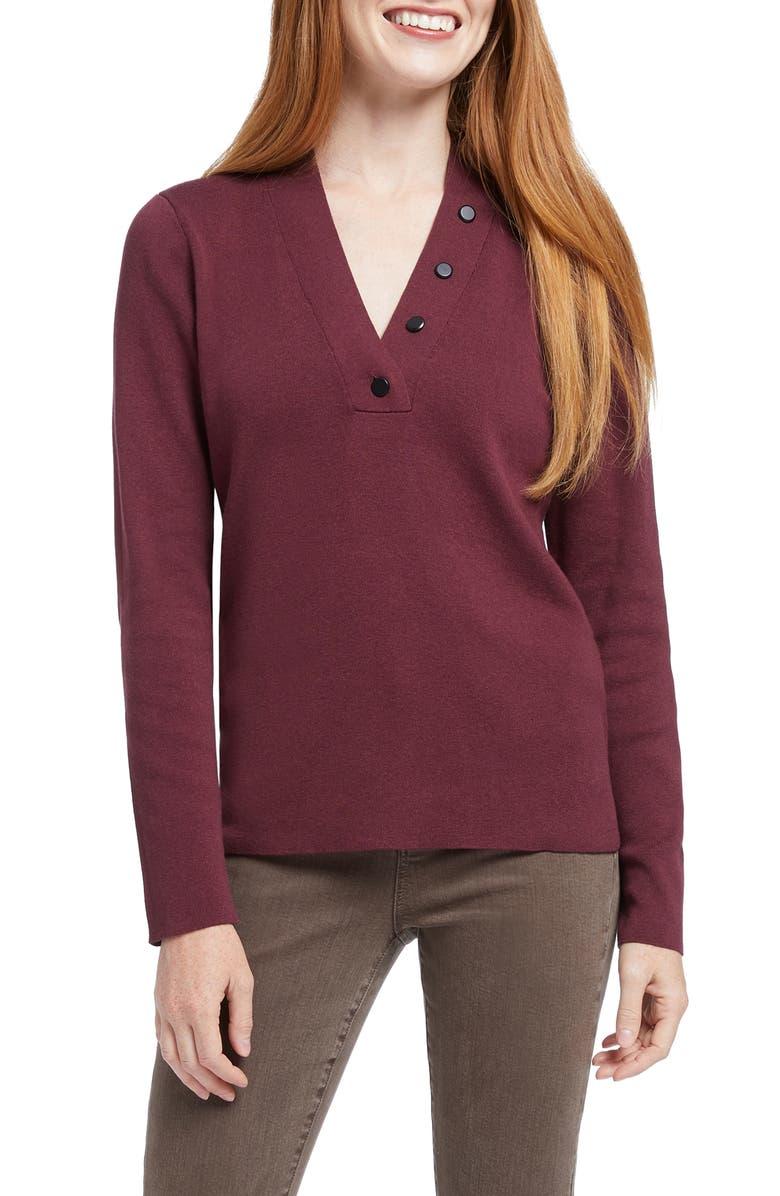 NIC+ZOE Button Knit Top, Main, color, PORT