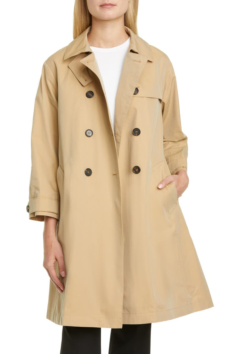 MAX MARA Water Repellent Cotton Trench Coat with Removable Lining, Main, color, BLACK