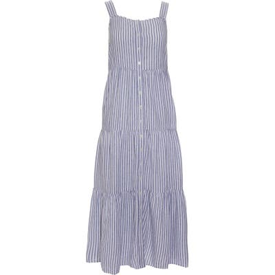 Madewell Stripe Button Front Tiered Midi Dress, Blue